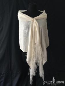 Dior - Châle étole en soie ivoire clair à franges
