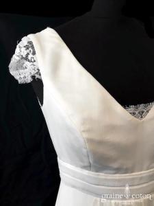 Lambert Créations - Mississipi (fluide bohème manches bretelles dos-nu taille-haute mousseline de soie dos boutonné décolleté-V)