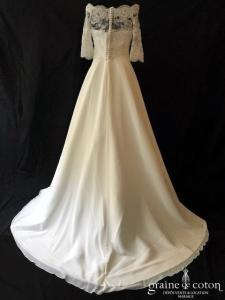 Bianco Evento - Harmonia (bustier manches bretelles mousseline dentelle bohème fluide taille-haute princesse A-line)