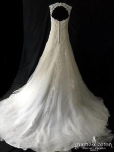 Eglantine - Darlène (sirène coeur bretelles fourreau taille-basse dos-nu dos boutonné dentelle tulle fluide)