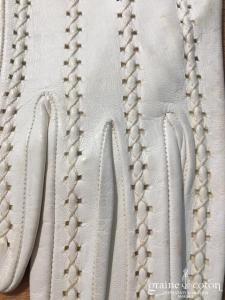Gants vintage courts en cuir ivoire