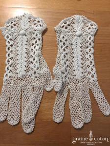 Gants courts en crochet façon dentelle ivoire clair