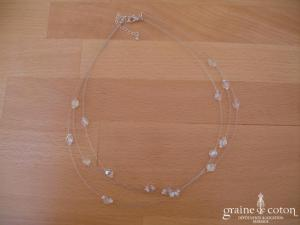 Au fil perlé - Collier 3 rangs avec perles transparentes