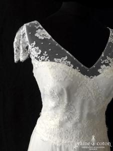 Marie Laporte - Coralie avec manches (dentelle fluide bohème manches bretelles mousseline soie dos-boutonné taille-haute princesse)