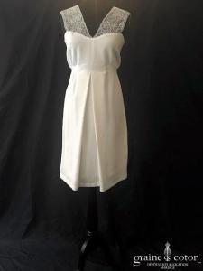 Envie de fraise - Robe courte en crêpe et dentelle ivoire clair (coeur femme enceinte 3 à 6 mois)