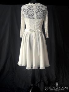 Swing - Robe courte en mousseline et dentelle (manches bretelles fluide taille-haute)