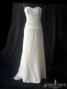 Cymbeline - Blanca et boléro Zuzela (bustier manches bretelles dentelle organza de soie fourreau droite fluide dos boutonné taille-basse bohème)