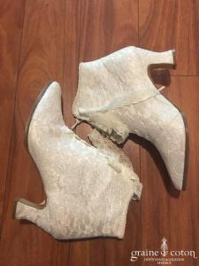 Boutique du haut talon - Bottines en dentelle ivoire clair