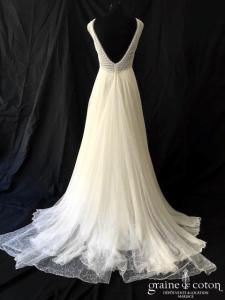 Rembo Styling - Robe une pièce en mousseline et guipure ivoire clair (dentelle fluide bretelles dos-nu taille-haute bohème)