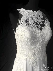 Pronovias - Dramis (dentelle perles mousseline fluide sirène fourreau bretelles dos-nu dos boutonné fendue)