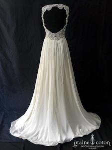 Jenny Packham - Daphné (fluide mousseline de soie bretelles strass perles dos-nu taille-haute drapé decollete-V)