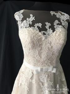 La Sposa pour Pronovias - Roby (nude champagne dentelle bretelles taille-haute princesse dos-nu coeur dos boutonné)