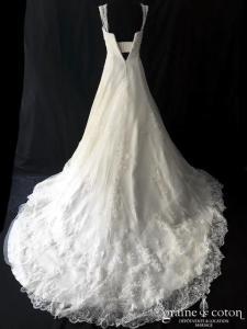 Elie Saab - Création en dentelle et perles ivoire clair (argentée bustier bretelles coeur A-line princesse dos-boutonné)