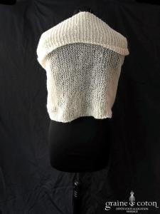 Création - Étole / cape en laine pailletée ivoire