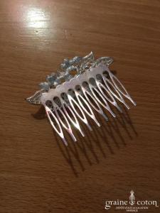 Création - Peigne strass et perle ivoire et argenté