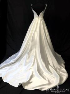 Eglantine Collection - Tennessee (mikado satin duchesse décolleté-V taille-haute A-line poches dos boutonné)