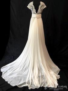 Cymbeline - Angel jupe mousseline (fluide bohème dentelle Calais taille-haute bretelles dos-nu décolleté-V)