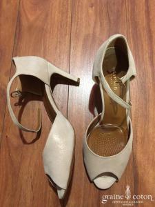 Heyraud - Sandales (chaussures) en nubuck ivoire nacré