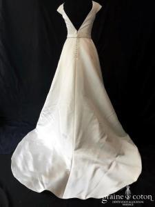 Jesus Peiro - Modèle 6013 modifiée (satin duchesse dentelle coton taille-haute bretelles dos-nu poches dos boutonné princesse)