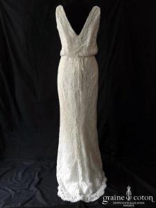 Pronovias - Preslie (dentelle fourreau sirène bretelles décolleté-V dos-nu droite taille-haute)
