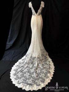 Veronika Jeanvie - Création sirène en dentelle et crêpe (bretelles manches fluide taille-haute bohème décolleté-V dos-nu)