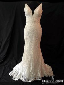 Atelier Marie Claire - Venezia (sirène perles dentelle tulle guipure décolleté-V taille-haute dos-nu bretelles)
