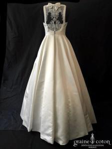 La Sposa pour Pronovias -  Puente (coeur satin duchesse taille-haute princesse dentelle bretelles dos-nu dos boutonné)