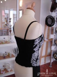 Fashion New York - Ensemble pantalon fluide et bustier noir (non stocké en boutique, essayage sur demande)