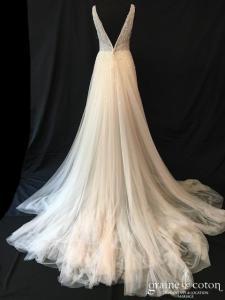 Pronovias - Hegemone (fluide bohème princesse taille-haute bretelles décolleté-V tulle rose poudré dos-nu)