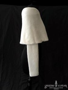 Bianco Evento - Étole / pull / boléro en laine ivoire clair (manches E290)