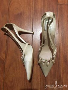 Dior - Escarpins (chaussures) en satin de soie ivoire