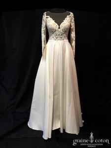 Dreamdress - Marsayla (dentelle manches taille-haute princesse fluide satin duchesse guipure bretelles dos boutonné dos-nu)
