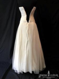 Delphine Manivet - Alban (bustier bohème fluide tulle de soie taille-basse princesse blanche)