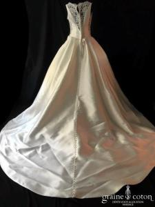 Pronovias - Elenco (mikado soie bretelles dos boutonné dos-nu dentelle taille-haute taille-basse princesse bateau poches)