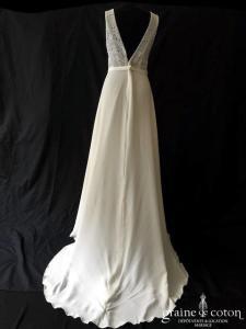 Bianco Evento - Dallas (bretelles guipure dentelle fluide bohème taille-haute crêpe dos-nu decolleté-V)