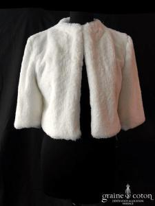 Bianco Evento - Boléro / manteau / veste en fausse fourrure ivoire (E307)