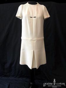 Cacharel - Robe courte en laine vierge ivoire (manches taille-basse)