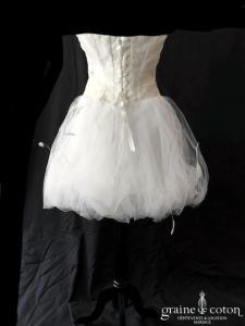 Diane Hameline - Robe bustier courte en organza de soie drapé et plumes (taille basse boule laçage)