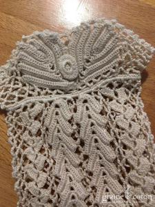 Vintage - Gants courts filet en dentelle de coton écrue motif géométrique