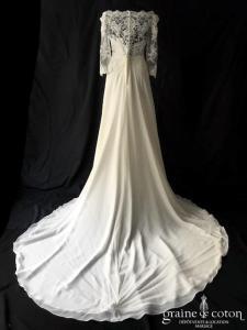 Luna Novias - Vanil (bateau dentelle perles crêpe mousseline fluide bohème manches bretelles dos boutonné taille-haute)