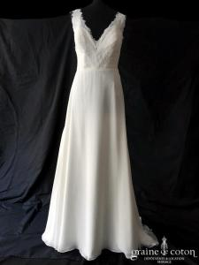 White One pour Pronovias - Opera (bohème fluide dentelle guipure mousseline taille-haute bretelles dos-nu dos boutonné)