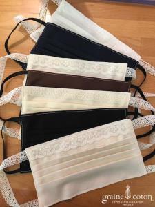 Création Graine de coton - Masque marié-e fait main en crêpe ou gabardine de coton bio (dentelle plis triple poche à filtre AFNOR)