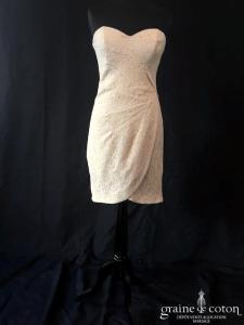 H&M - Robe courte droite bustier en dentelle crème (drapé coeur)