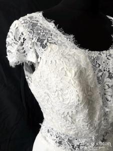 Helen Dolly - Amélie (mousseline fluide dentelle guipure dos-nu bohème bretelles manches taille-haute décolleté-V papillon)
