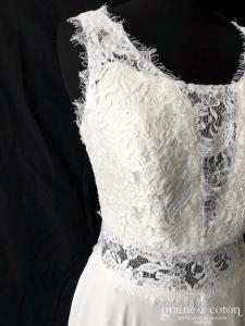 Création Helen Dolly - Fée version guipure (fluide dentelle bohème mousseline bretelles dos-nu dos boutonné taille-haute)