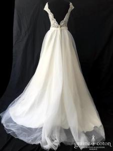 Création Helen Dolly - Princesse (tulle taille-haute dentelle guipure bretelles dos-nu fluide dos boutonné bohème nude)