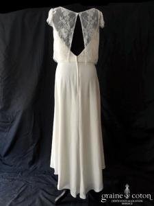 Bo'M - Victoria (courte mi-longue petites manches bretelles dos-nu dentelle crêpe de soie taille-haute decolleté-V bohème)