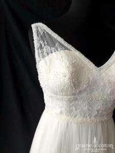Rosa Clara - Lisa (fluide bohème soft tulle dentelle empire bretelles taille-haute dos-nu décolleté-V perles)