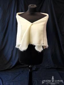 Création - Châle carré en laine écrue ivoire foncé (vintage)
