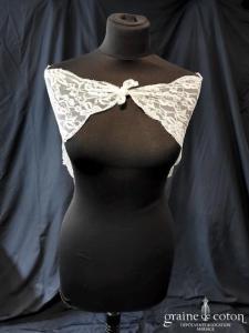Création - Mantille triangulaire en dentelle ivoire (châle étole vintage)